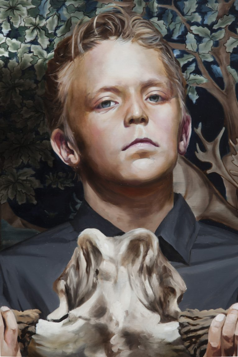 The Mask (boy holding a moose skull), detail, Markus Åkesson, 2016, 100x120cm, oil on canvas