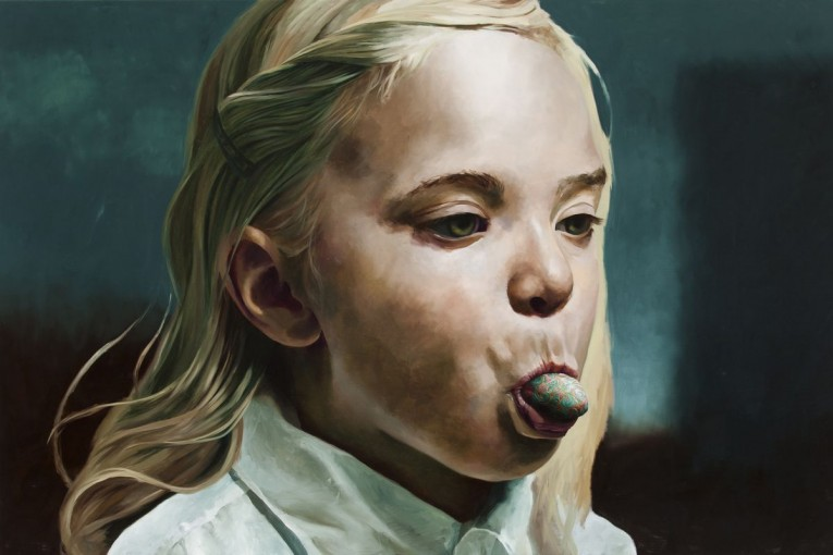 Girl with an enamel tounge, 2014, Markus Åkesson, 100x150cm, oil on canvas, Foundation Francés