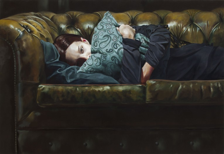 Chesterfield Dreams (Matilda with paisley pillow),2015, Markus Åkesson, oil on canvas, 100x150cm